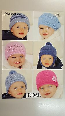 Sirdar Knitting Pattern #1711 Baby Hats to Knit in Snuggly DK 6 Styles 0 to 6 Yr