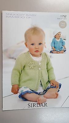 Sirdar Knitting Pattern #1752 Girls Cardigan to Knit in Snuggly Baby Bamboo Yarn