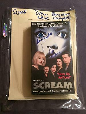 Scream Vhs Tape Autographed By Drew Barrymore & Neve Campbell