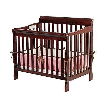 Dream On Me, Aden Convertible 3 in 1 Mini Crib In Cherry