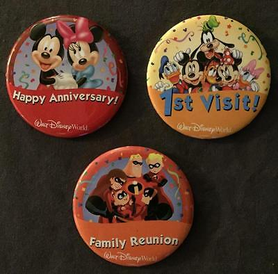 Lot Of 3 Disney 1St Visit Family Reunion Happy Anniversary Buttons Pins Pinbacks