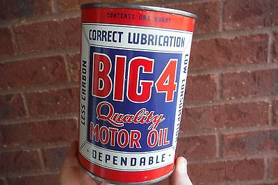 Original BIG 4 Quality Motor Oil Can Quart - Gas Oil Service Station Sign