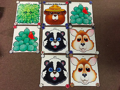 Vintage Smokey The Bear 8 Poster LOT His Friends Masks Skunk Deer forest fire