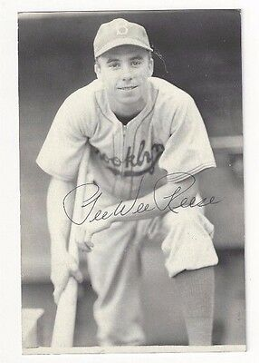 Pee Wee Reese Autographed Jim Rowe Postcard Photo Brooklyn Dodgers Baseball #2