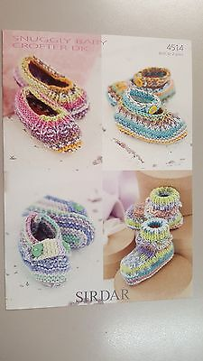 Sirdar Knitting Pattern #4514 Baby Bootees & Shoes to Knit for Birth to 2 Years