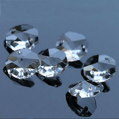 100pcs 14mm clear octagon beads crystal chandelier lamp parts prism ornament #01