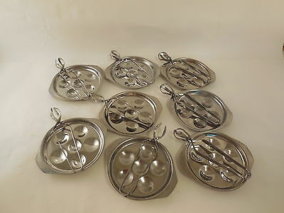 8 ESCARGOT PLATES & 8 UTENSILS, MADE IN FRANCE Stainless Steel,  INOX