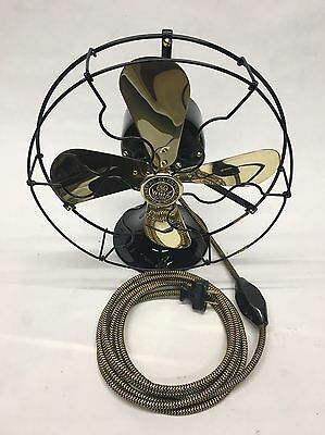 """1920s ANTIQUE 9"""" BRASS BLADE GE WHIZ TABLE FAN. PROFESSIONALLY RESTORED."""