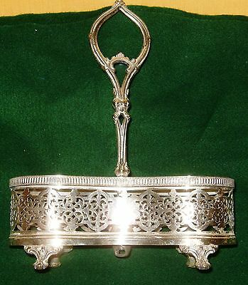 Double Pickle Caster Holder-Silver plate; Paw Style feet