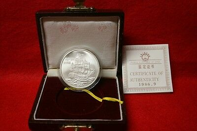 People's Republic Of China 1986 5 Yuan Coin .900 Silver Uncirculated Box, COA