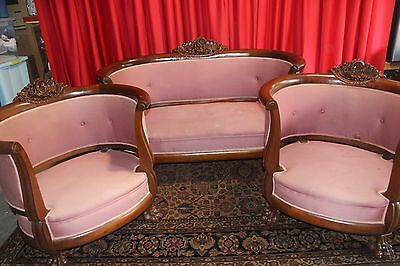 Antique Empire / Roccoco Mahogany Sofa & Two Chair Set 1830's to 1850's NICE