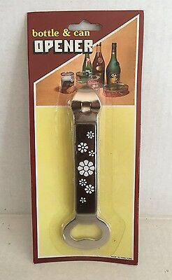 Vintage Retro Bottle Can Opener Brown W White Flowers 1970's NEW OLD STOCK