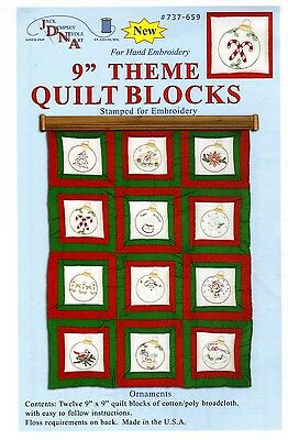 ORNAMENTS QUILT SQUARES HAND EMBROIDERY PATTERN, From Jack Dempsey Inc.