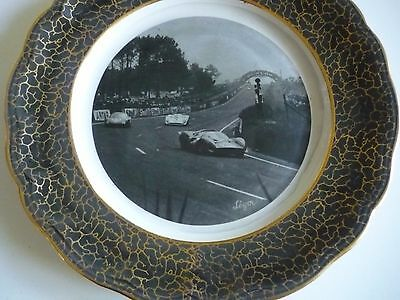 French 24 Hrs Du Mans Dunlop Racing Cars Porcelain Plate 1950's Signed By Leger
