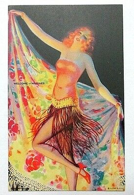 1941 Mutoscope Card 'welcome--Marines' All American Girls, Near Mint