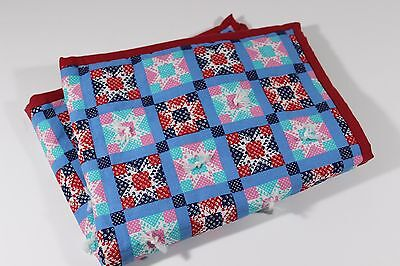 Hand Tied Doll Quilt for Doll Bed, Red Binding