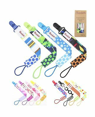 FLASH SALE Pacifier Clip 4 Pack by Akeekah For Boys Unique 2 Sided Design Pac...