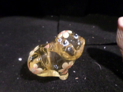 Fenton Glass Buttercup Yellow Handpainted Pig - Signed