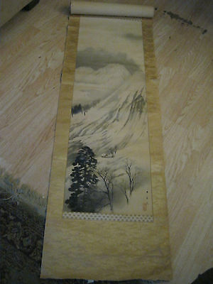antique painting scroll chinese? or japanese? old painting 74 x 19 1/8 landscape