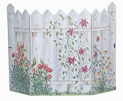 The Stupell Home Decor Collection 3 Panel Decorative Fireplace Screen, Picket Fe