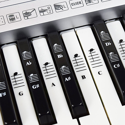 Piano and Keyboard Music Note Full Set Stickers for White and Black Keys with Pi