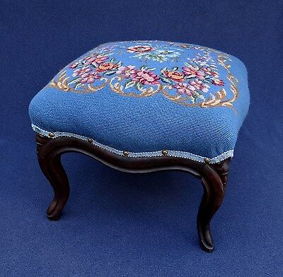 Antique Victorian Flowers Needlepoint Foot Stool Carved Wood