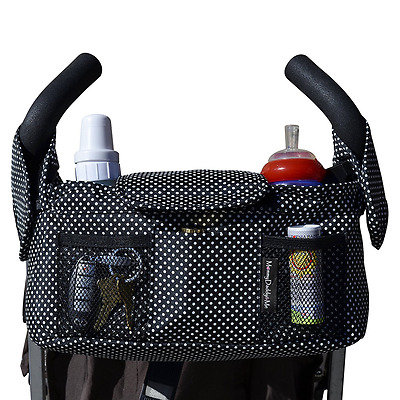 Highest Quality Universal Stroller Organizer, Black with White Dots (More Color