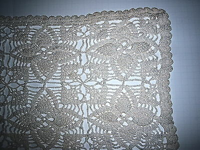 "Crochet Dresser Scarf - Off White - 11 X 66"" - Vintage - Perfect"