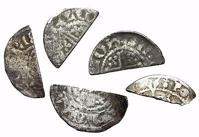 *HHC* ENGLAND. Silver cut halfpenny, Lot of 5 (SKU #O1-126)