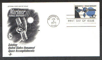 Us Fdc 1975 Mariner 10 Venus/mercury 10C Stamp Ac First Day Of Issue Cover