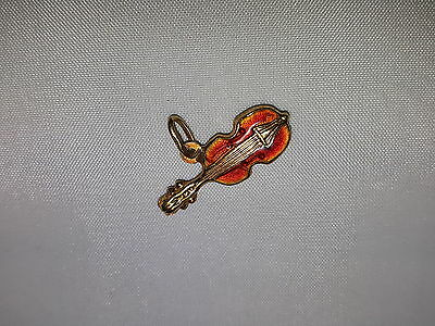 Vintage Enameled 18K Solid Gold Violin Charm-Made in Italy