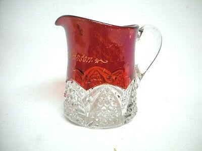 EAPG Ruby Red Flashed Glass Creamer Crawfordsville Indiana 1909 Pattern Souvenir