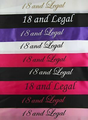 18TH BIRTHDAY SASH - 18 AND LEGAL - White Black Light Pink Purple Gold PARTY