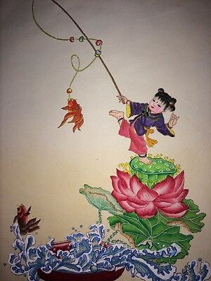 Beautiful Vintage Chinese Hand-Painted on Paper Girl Fishing Gold Fish on Lotus