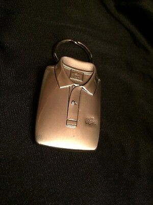 Vintage Lacoste White Metal Key Chain Key Ring Fob