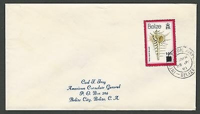 1981 Belize Sc #422/SG #622, 10c on 15c Shells International Airport Local Cover