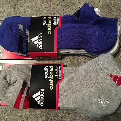 NEW Lot of 6 Boys ADIDAS Climate Socks Size 3Y-9