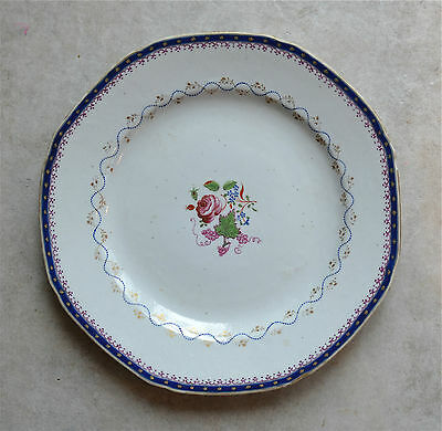 Antique Chinese Export 18th C Octagonal Famille Rose Plate Rim Chips