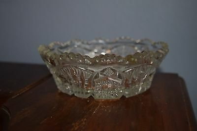 Antique Heavy Cut Glass Candy Dish Bowl American Brilliant Period