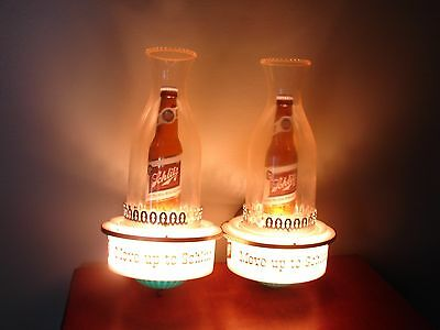 Pair of 1959 Schlitz - LIGHTED BEER WALL SCONCES Move Up to Schlitz -Rewired