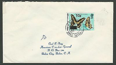 1980 Belize Sc #424/SG #560 - 10c on 25c Butterfly Cover Corozal to Belize City