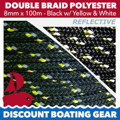 100m x 8mm Double Braid Boat Yacht Rope BLACK REFLECTIVE & GOLD FLECK Polyester