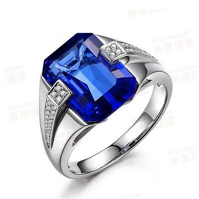 Handmade Solitaire Men 6ct Sapphire CZ 925 Silver Wedding Band Ring Sz 10/T Gift