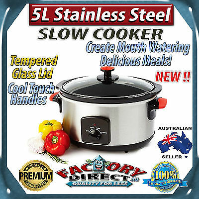 NEW! 5 Litre Stainless Steel Slow Cooker 260W tempered glass lid cool touch!