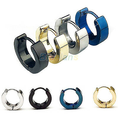 1 Pair Cool Men's Stainless Steel Hoop Earring 4 Colors Available Lovely