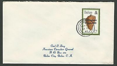 1981 Belize Sc #577/SG #634; 10c Shell Independence Cover Corozal to Belize City