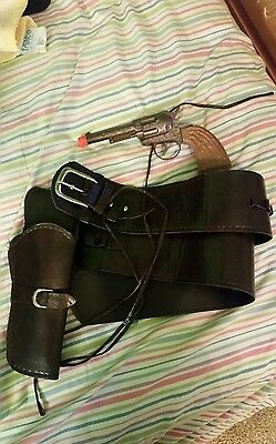 Western Leather Belt and Holster with Gun