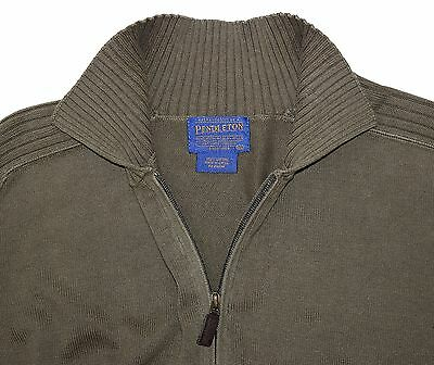 Pendleton Olive Green 1/4 Zip Heavy Cotton Knit Raglan Pullover Sweater Men's XL