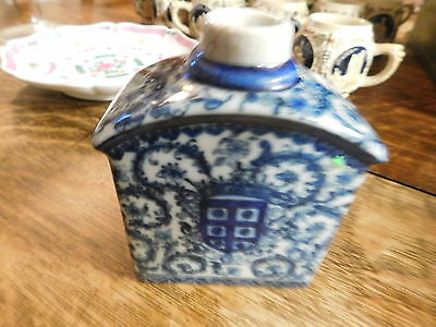 Chinese Export armorial blue & white tea caddy, mark that clearly states 1897
