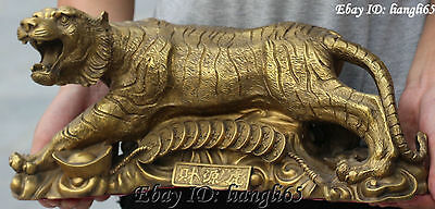 Chinese Pure Bronze Man Hold 12 Zodiac Year Ferocious Tiger Animal Wealth Statue